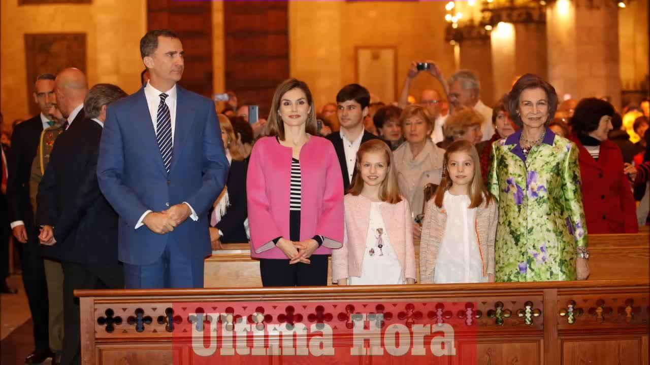 La Familia Real, fiel a la misa de Pascua en la Seu