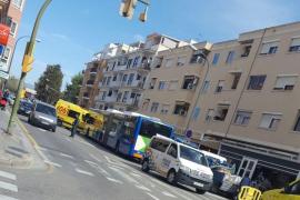 Frenazo de un autobús en el Coll d'en Rabassa