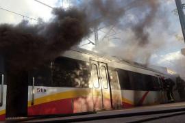 Un escape de aceite hidráulico, posible causa del incendio del tren en Binissalem
