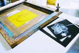 Taller de serigrafía de Marcos Vidal en Can Gelabert