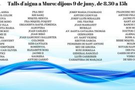El Ajuntament de Muro informa de cortes de agua el 9 de junio de las 8.30 a las 15.00 horas