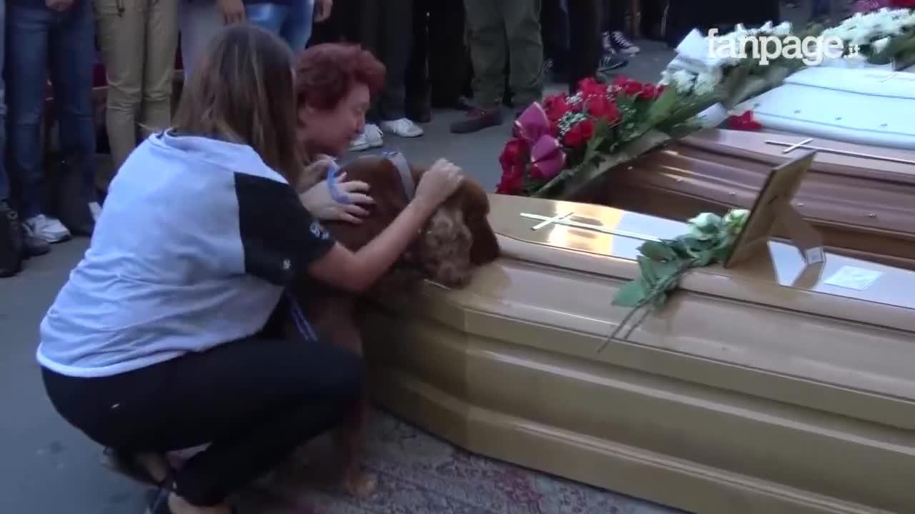Emotiva despedida de un perro a su dueño, víctima del terremoto en Italia