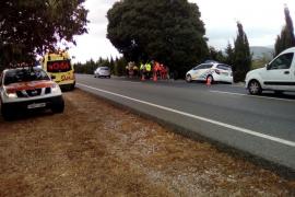 Cinco ciclistas heridos en un accidente en la carretera que une Binissalem con Inca