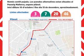 Emaya realiza obras en Jaume III y plaza Rey Joan Carles I que implican cambios en las rutas de los autobuses