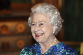 Britain's Queen Elizabeth smiles during a reception for Leaders of the Overseas Territories at Windsor Castle, west of London