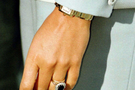 File photo of Diana, Princess of Wales, wearing her engagement ring and wedding band in London