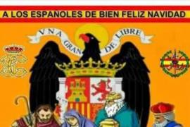 El PP de Alella, en Barcelona, felicita la Navidad en Facebook con el águila franquista