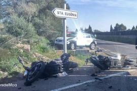 Dos motos colisionan con una ambulancia en la carretera vieja de Sineu
