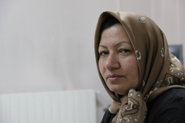 Sakineh Mohammadi Ashtiani, sentenced to death for adultery, poses for a picture before an interview with Iran's English languag