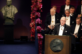 Chairman of Board of Nobel Foundation Storch makes speech during 2010 Nobel Prize ceremony at Concert Hall in Stockholm
