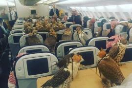 Un príncipe saudí viaja con sus 80 halcones en primera clase