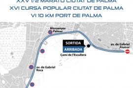 El Passeig Marítim sufre cortes de tráfico este domingo por la maratón 'Ciutat de Palma'