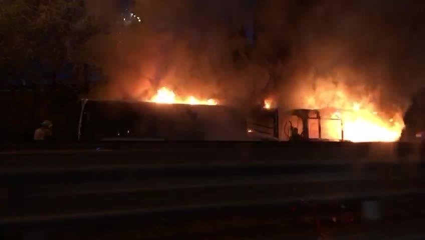 Arde un autobús de la EMT en la Vía de Cintura