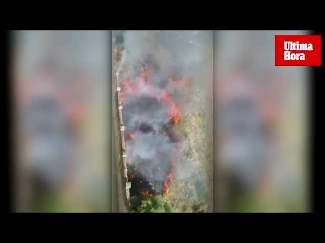 Sofocado un incendio de rastrojos en el antiguo cuartel de Son Busquets