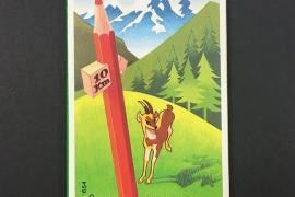 ¿Qué representan los '10 km.' en la caja de lápices de colores Alpino?