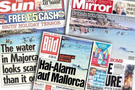 Los tabloides británicos y alemanes llevan a portada el «terror» de la tintorera en aguas de Mallorca