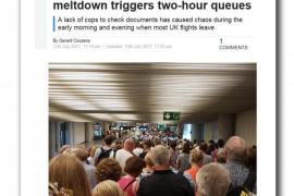 La prensa británica critica las colas en el control de pasaportes de Son Sant Joan