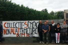 Un colectivo francés erige un muro para bloquear un centro de inmigrantes