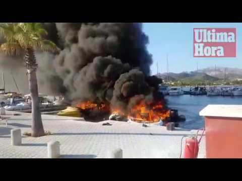 Un herido grave y cinco embarcaciones calcinadas en un incendio en el Port de Andratx