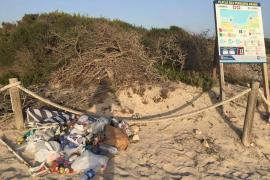 Denuncian la acumulación de basura en la playa de es Trenc