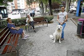 Jubilados impiden la entrada de perros en el parque de la plaza del Progreso