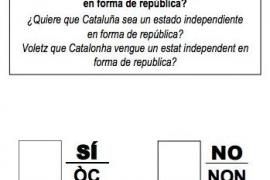 Esta es la papeleta para el referéndum en Cataluña del 1 de octubre