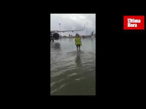 Algunas zonas del aeropuerto de Palma quedaron anegadas tras la tormenta