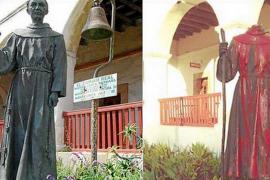 Decapitada y cubierta de sangre una estatua de Juníper Serra en California