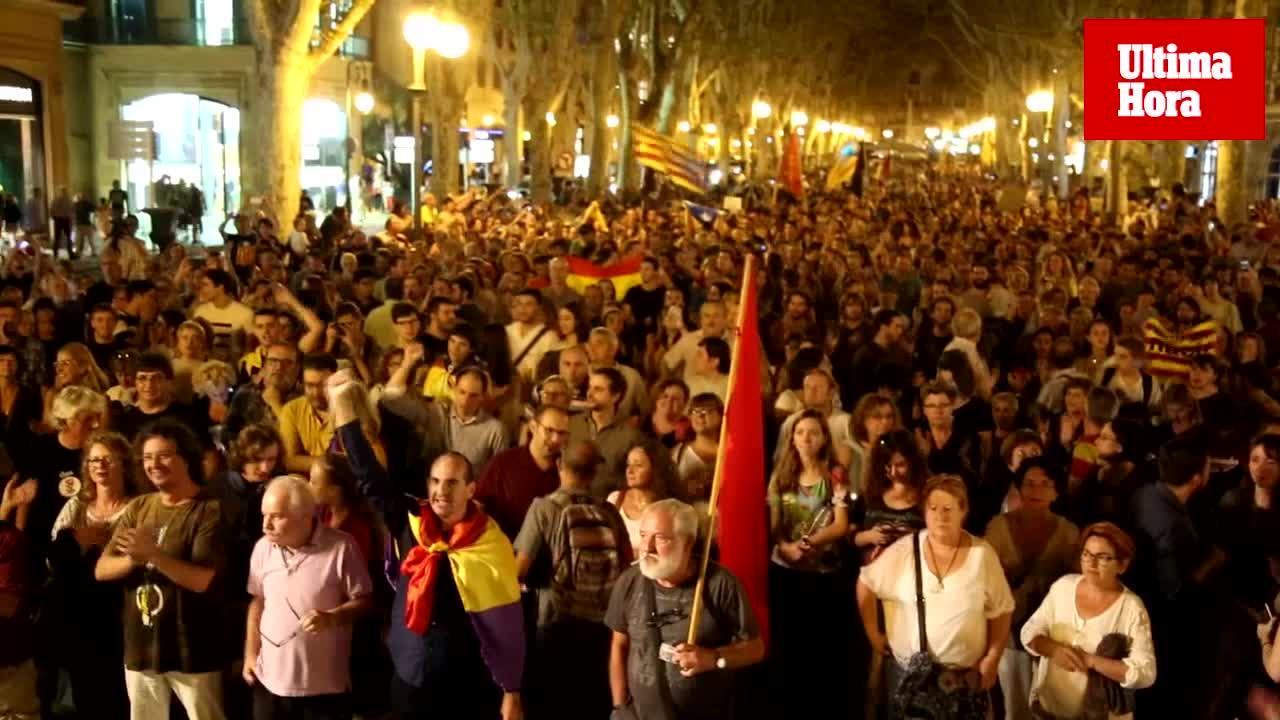 Concurrida manifestación en Palma a favor del referéndum de Cataluña