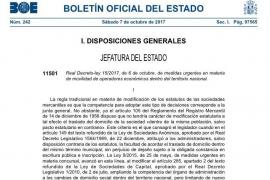 El BOE publica el decreto que facilita el cambio de sede de las empresas