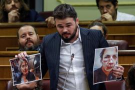 Rufián dice ante el Congreso que los agentes desplegados en Cataluña son «salvajes que apalean»