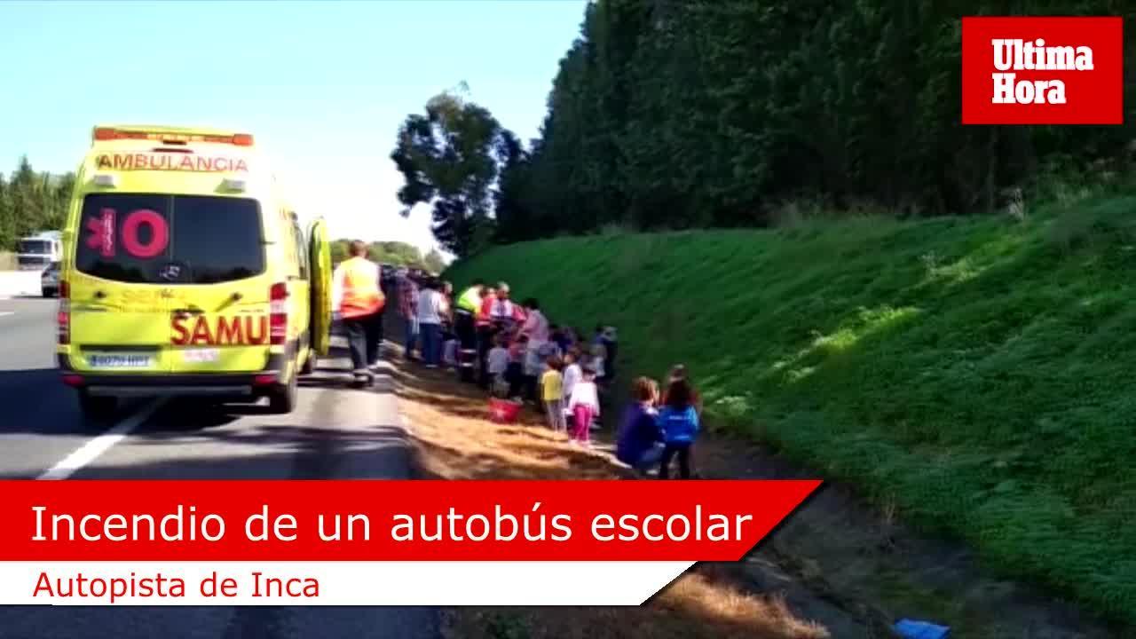 Un autobús con 50 niños se incendia en la autopista de Inca sin causar heridos