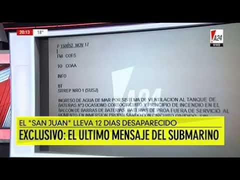 Un 'último mensaje' del submarino desaparecido contradice la versión de la Armada
