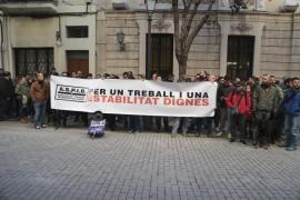 Policías interinos se manifiestan en Palma contra la nueva ley de policías locales