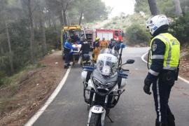 Rescatan a un ciclista accidentado durante un descenso en el Coll de sa Creu