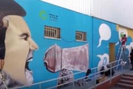 Un graffiti de Jerom para reivindicar un modelo energético sostenible en Ibiza