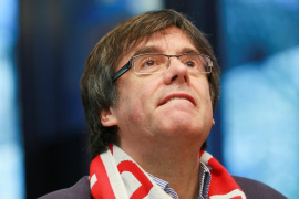 Puigdemont hace campaña en Bruselas durante el Girona-Getafe