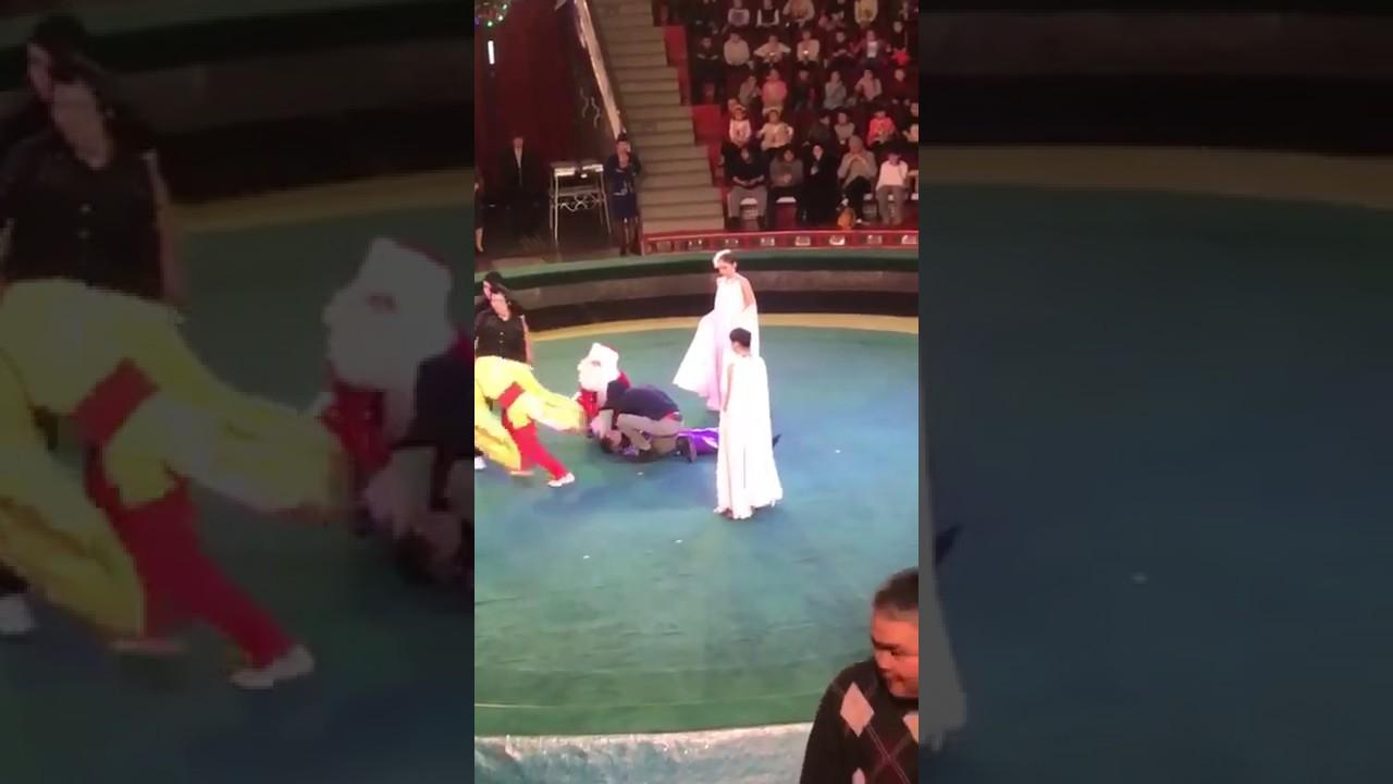 Una acróbata cae desde tres metros de altura durante una actuación