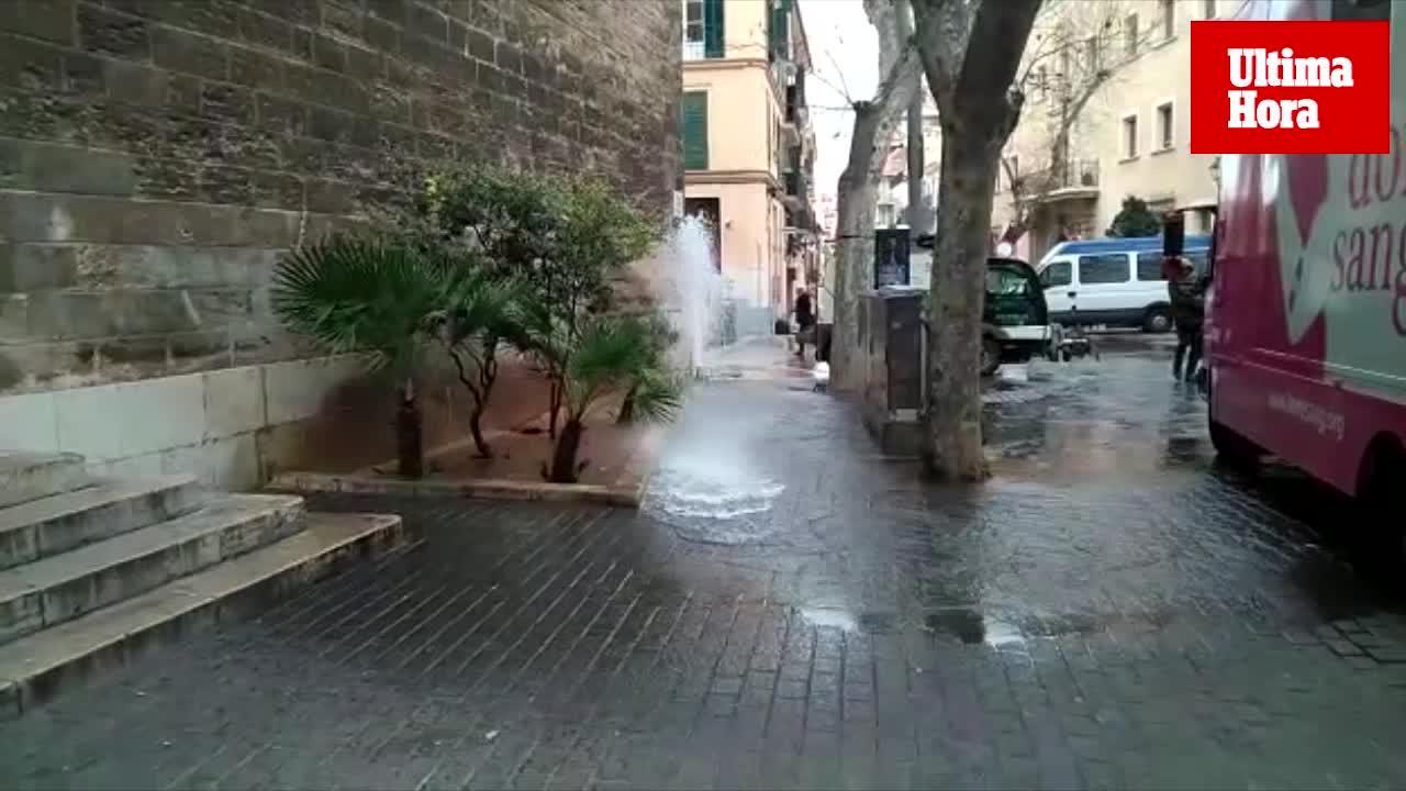 Una fuga de agua se desborda por San Miguel