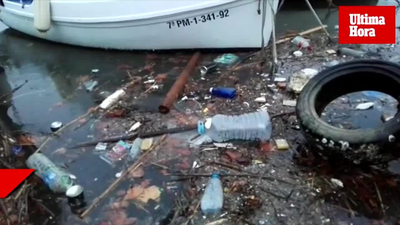 La suciedad de los torrentes inunda la bahía de Palma