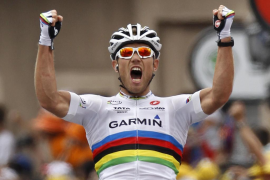 Garmin -Cervelo rider Thor Hushovd of Norway celebrates at the end of 13th stage of the Tour de France 2011 cycling race