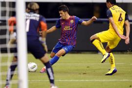 Villa y Valdés dieron al Barcelona la victoria del honor