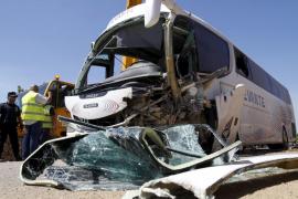 Accidente de autocar en la carretera de Porto Cristo a s'Illot