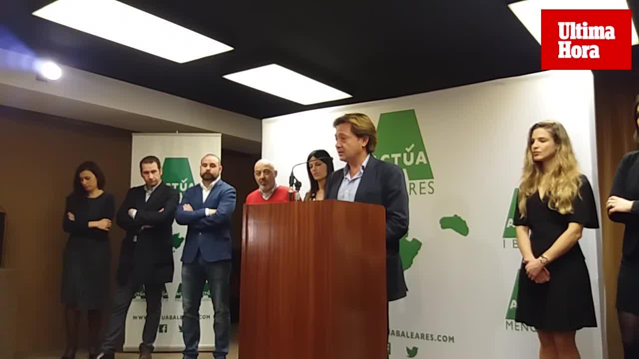 Jorge Campos presenta Actúa Baleares y marca distancia con Ciudadanos