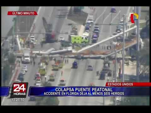 Varios muertos al derrumbarse un puente peatonal sobre una carretera en Miami