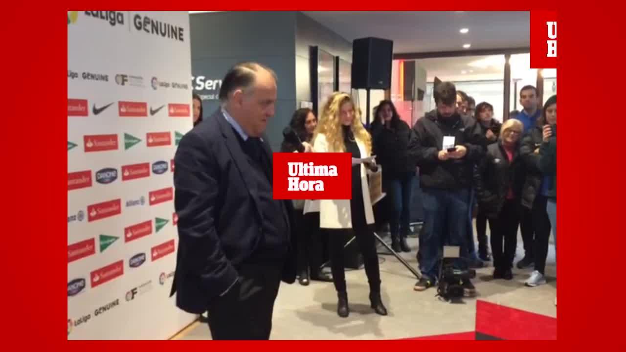 Tebas, en Palma, sobre la polémica del penalti: «Si se pitó, lo fue»