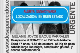 Localizada la joven de 17 años desaparecida en Palma