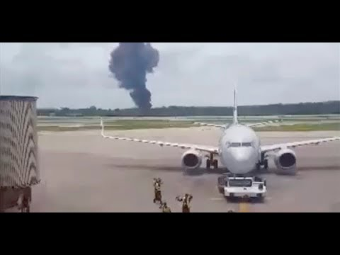 Primeras imágenes del accidente aéreo en La Habana