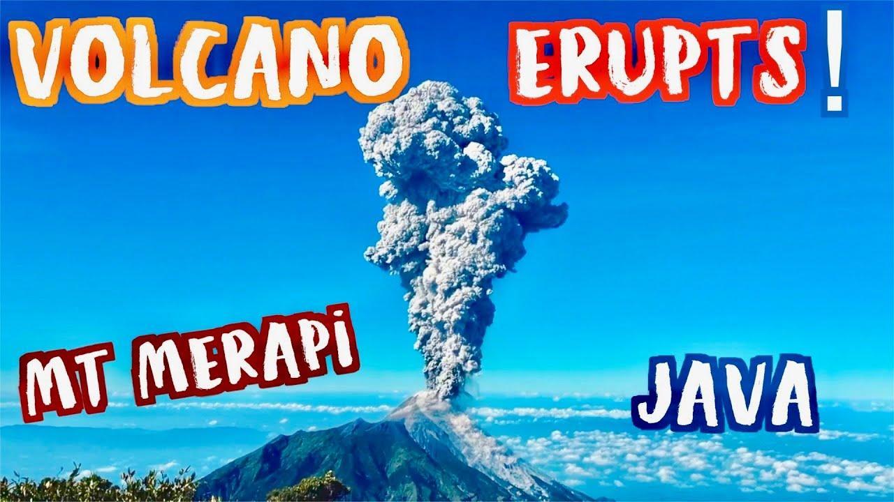 El volcán Merapi expulsa una espectacular columna de ceniza y humo