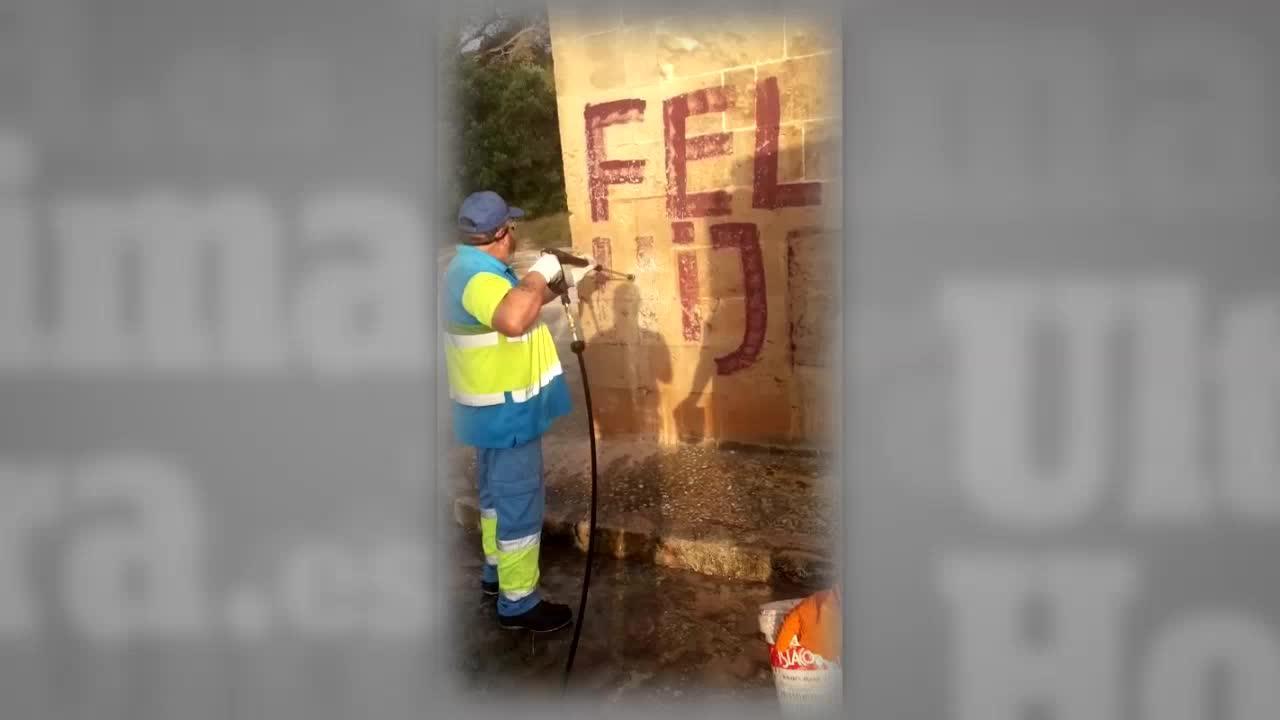 Retiran las pintadas contra el rey Felipe VI en Bellver
